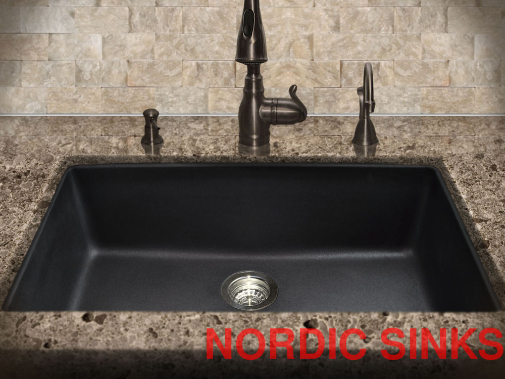 black composite granite kitchen sink photo - 9