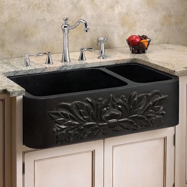 black granite farm sink photo - 1