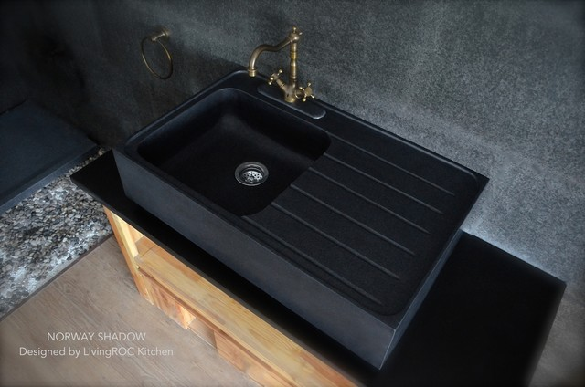 black granite farm sink photo - 10