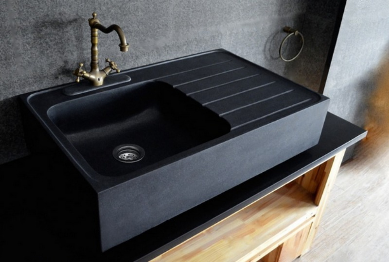 black granite farm sink photo - 3