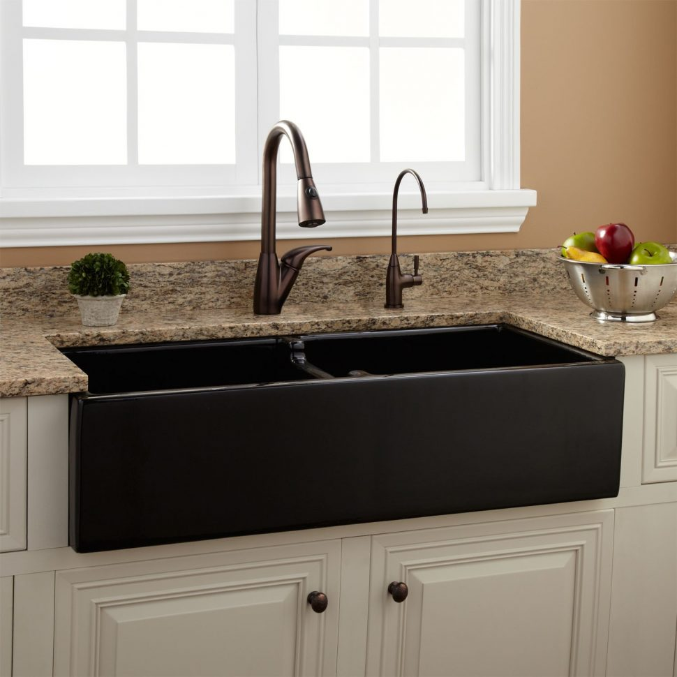 black granite farm sink photo - 4