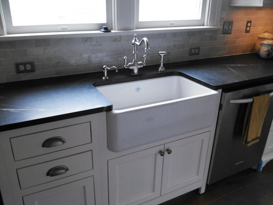black granite farm sink photo - 7