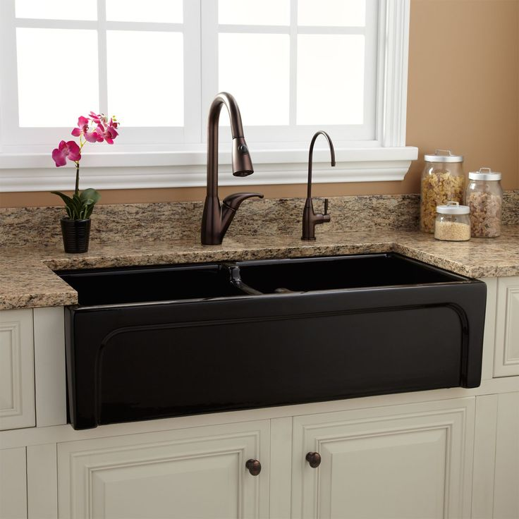 black granite farm sink photo - 8