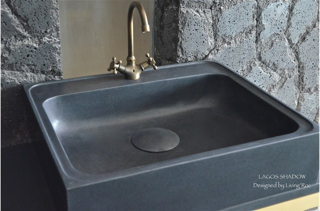black granite farm sink photo - 9