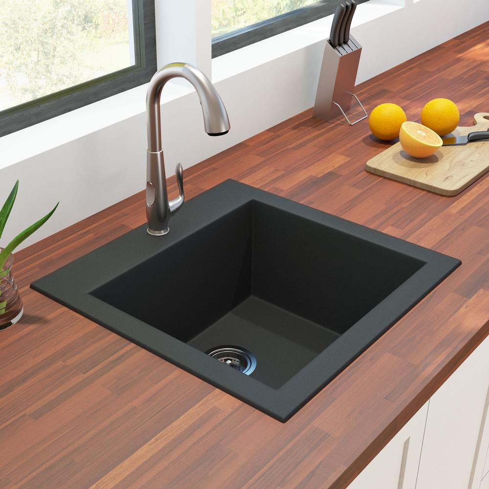 black granite single bowl sink photo - 1