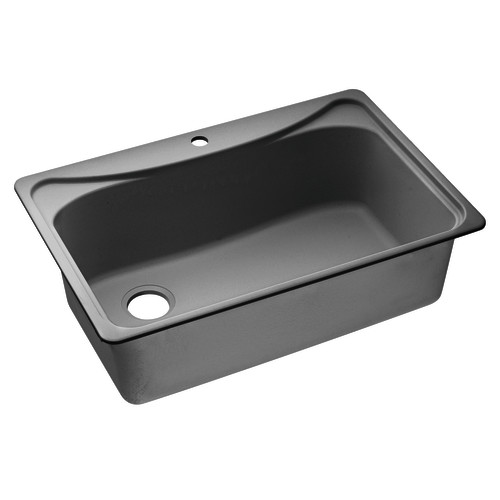 black granite single bowl sink photo - 4