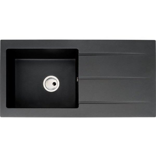 black granite single bowl sink photo - 6