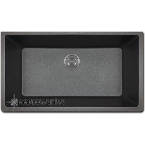black granite single bowl sink photo - 9