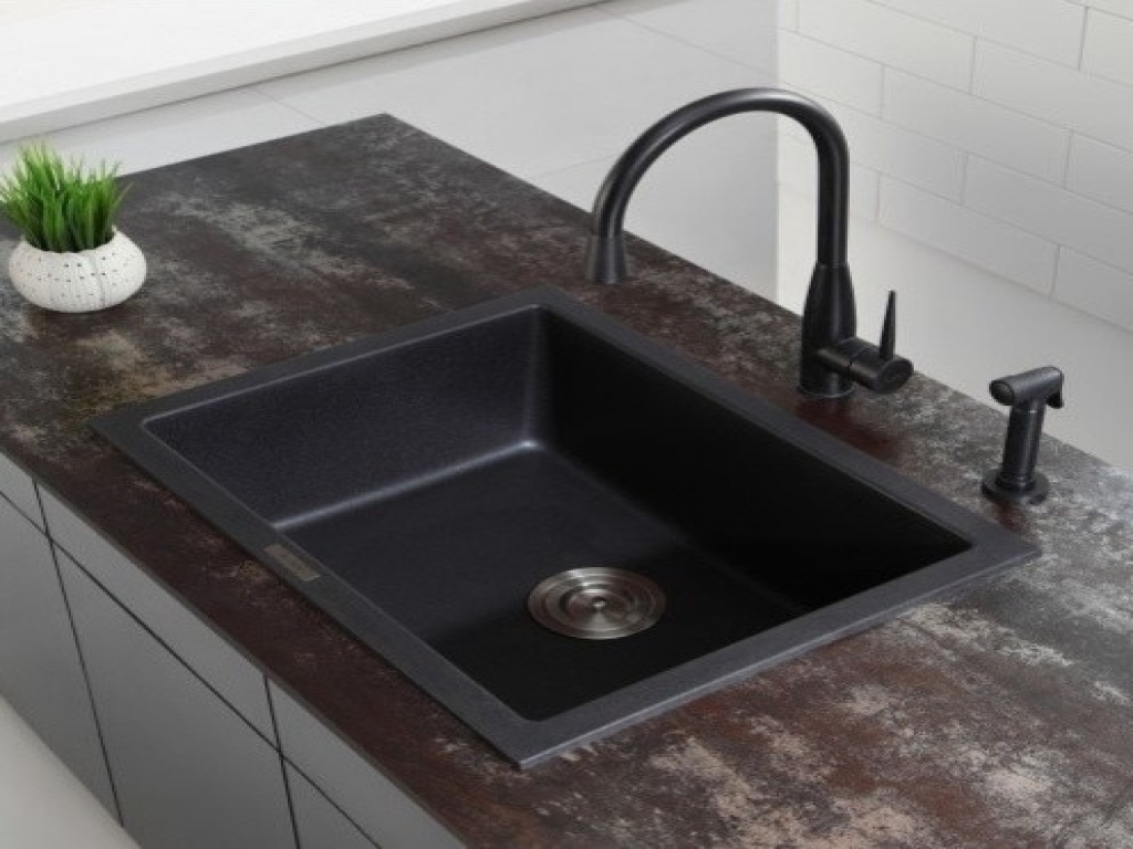 black granite sinks kitchens photo - 10
