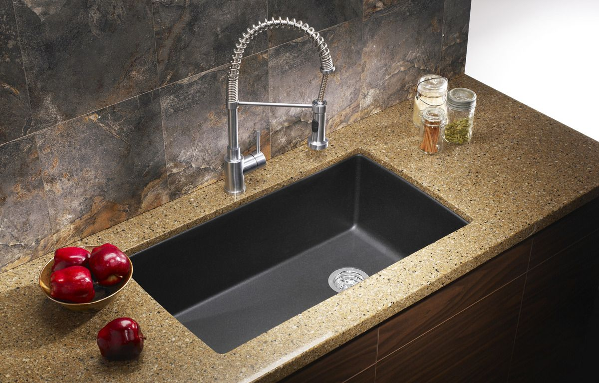 black granite sinks kitchens photo - 7