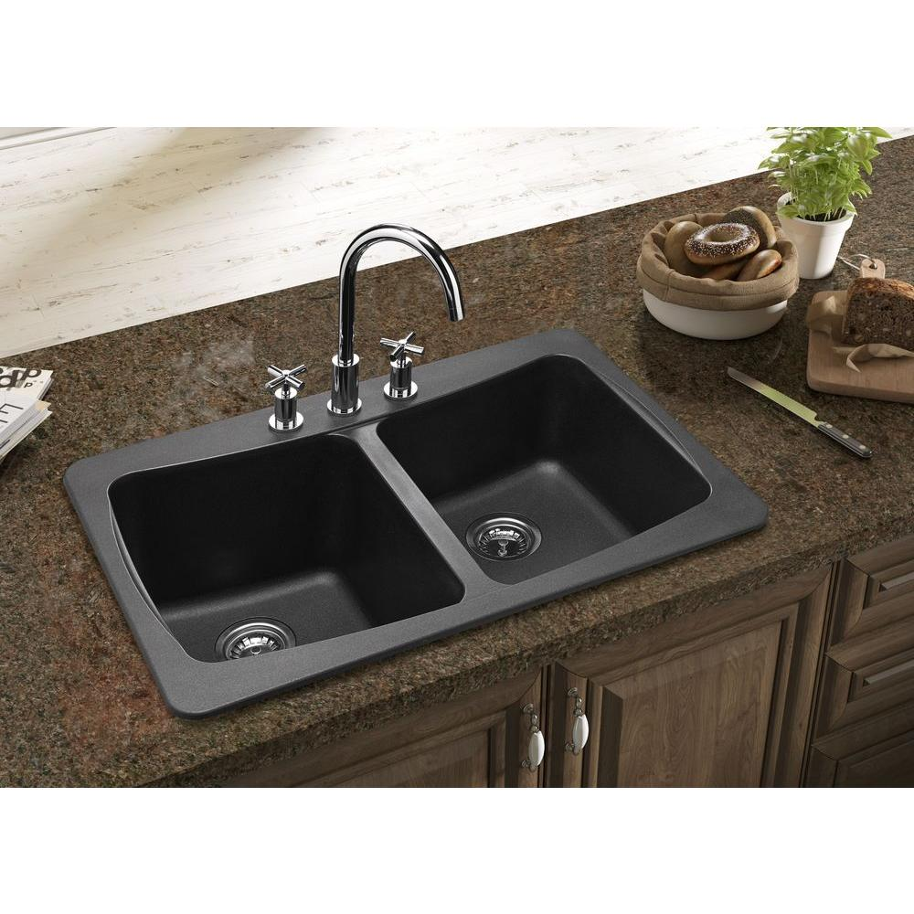 black granite sinks kitchens photo - 9