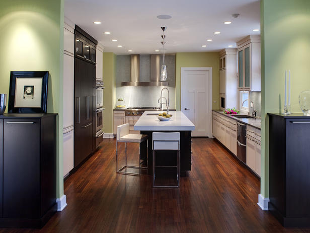 black kitchen cabinets and green walls photo - 10
