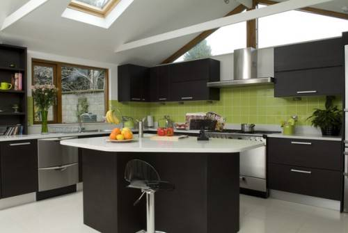 black kitchen cabinets and green walls photo - 6