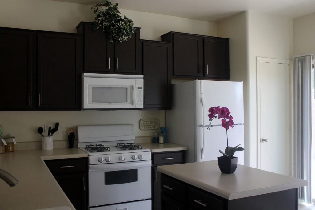black kitchen cabinets and white appliances photo - 9