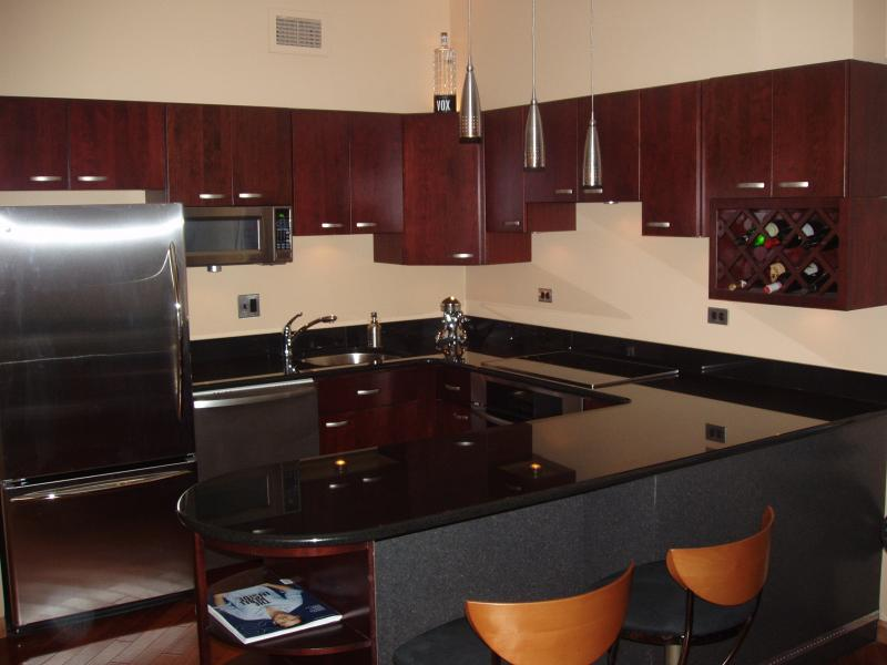 black kitchen cabinets with granite photo - 5