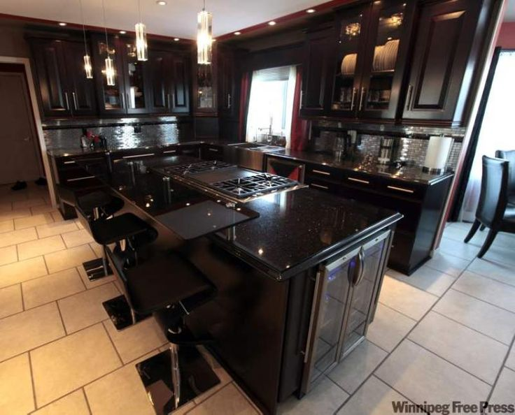 black kitchen cabinets with granite photo - 9