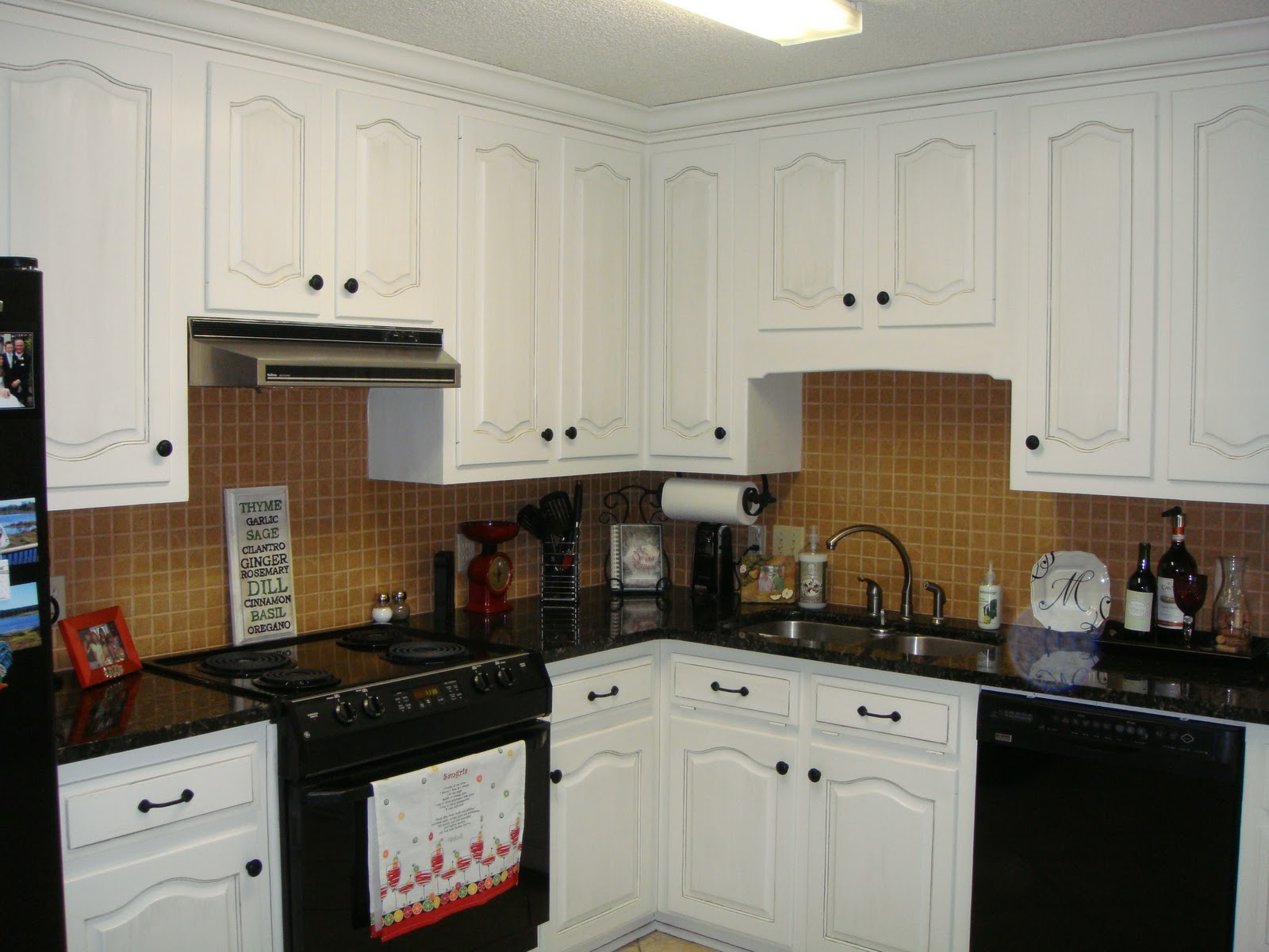 Black Kitchen Cabinets With White Appliances Brooklyn Apartment