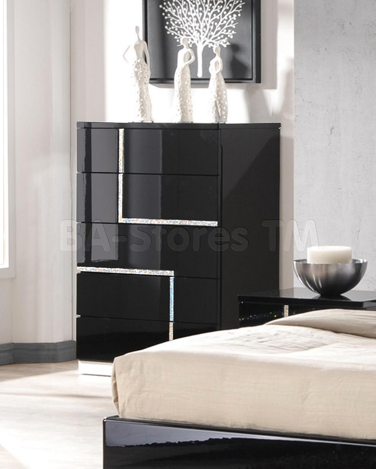 black lacquer bedroom furniture sets photo - 7