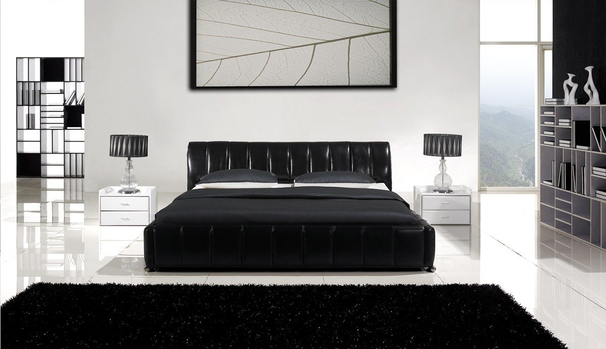 black leather bedroom furniture photo - 2