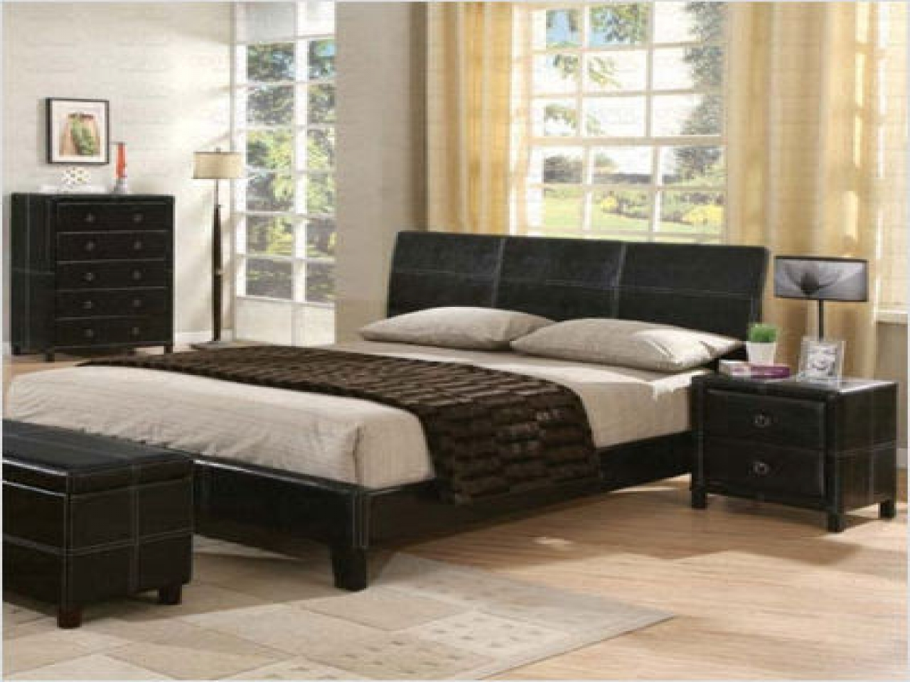 black leather bedroom furniture photo - 6