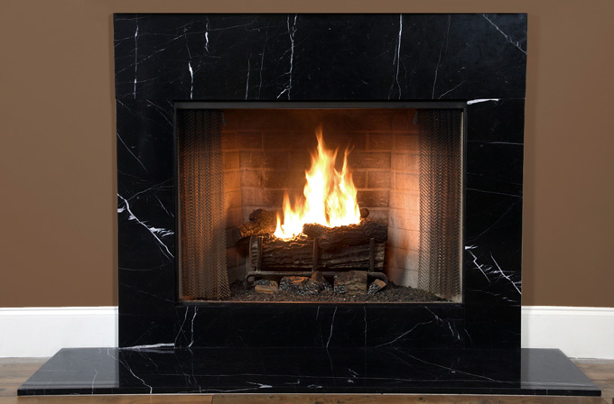 black marble fireplace surround photo - 2