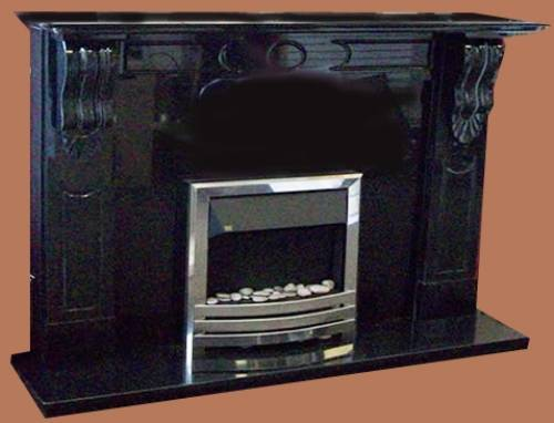 black marble fireplace surround photo - 6