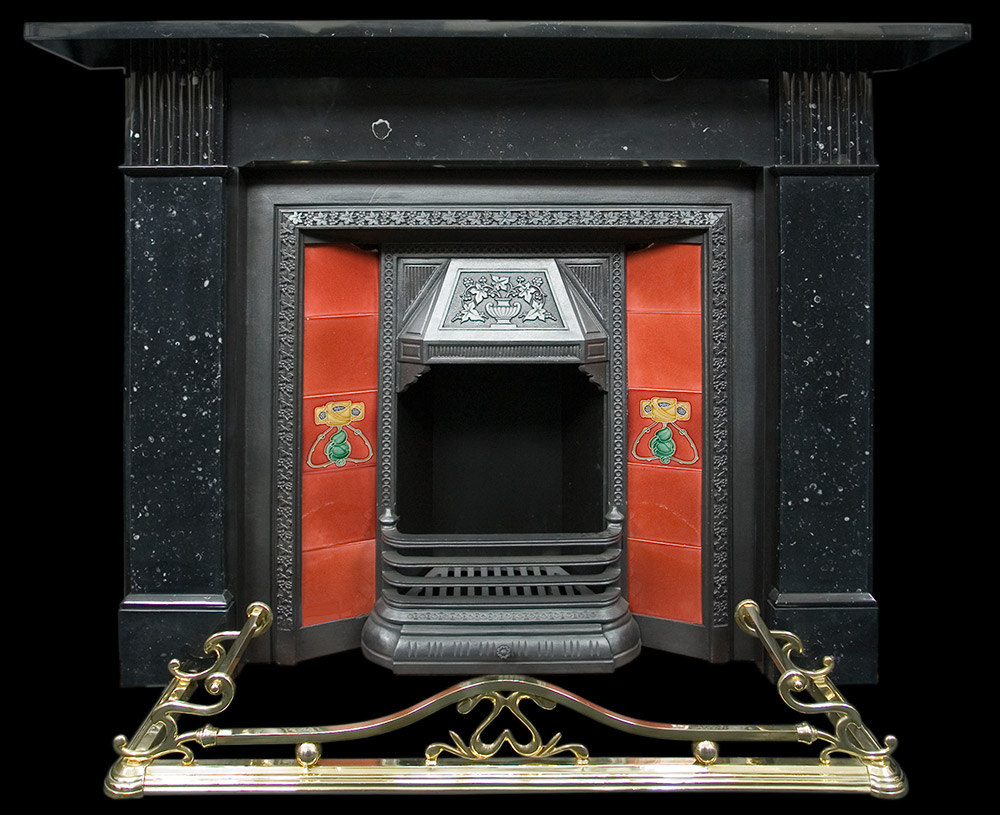 black marble fireplace surround photo - 9
