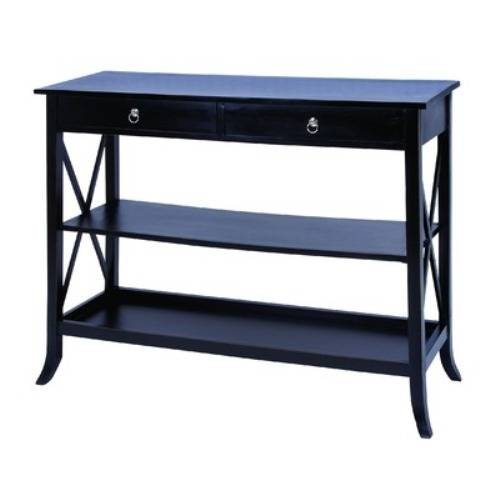 black sofa table with drawers photo - 1