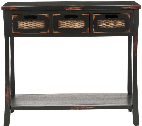 black sofa table with drawers photo - 10