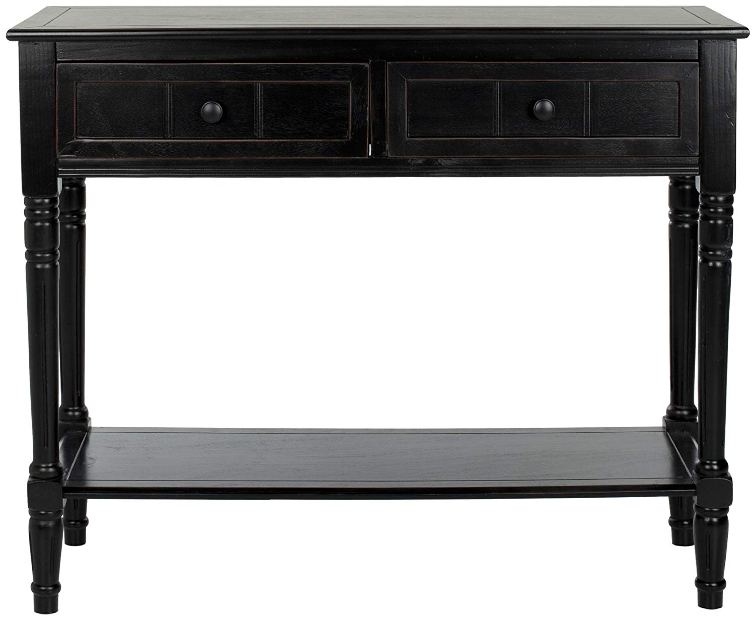 black sofa table with drawers photo - 4