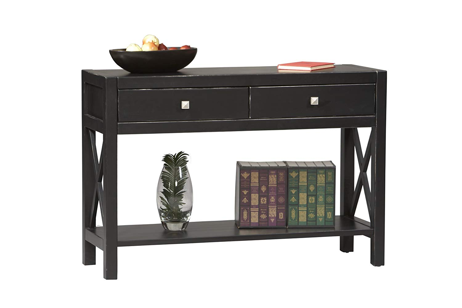 black sofa table with drawers photo - 5