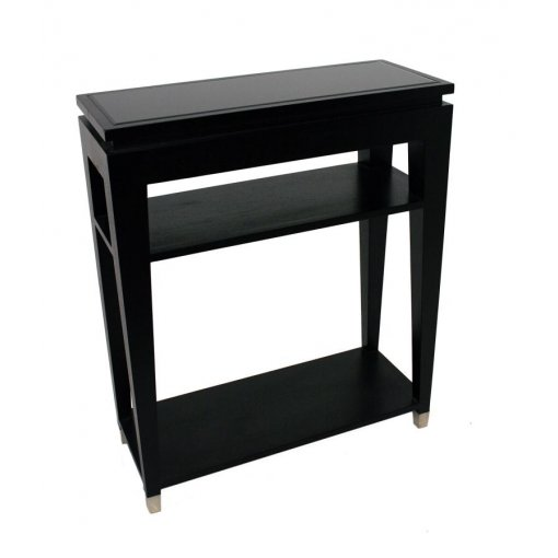 black sofa table with glass top photo - 3