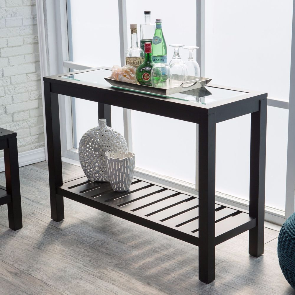 black sofa table with glass top photo - 4