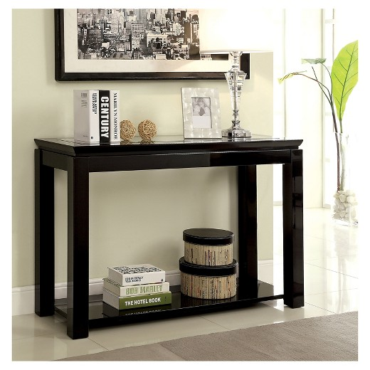 black sofa table with glass top photo - 5
