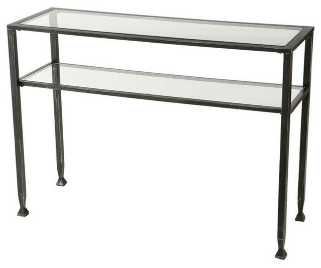 black sofa table with glass top photo - 7