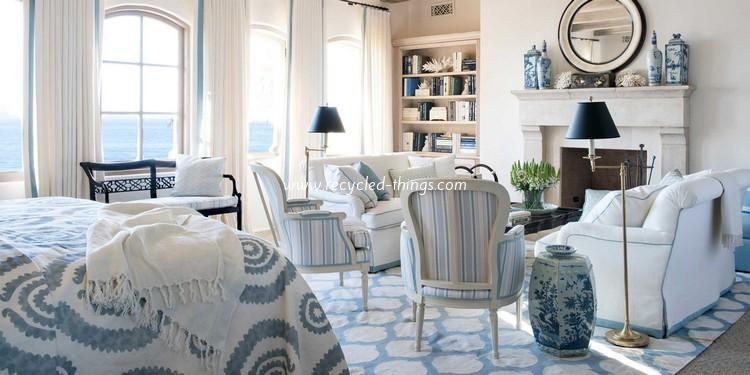 blue and white bedroom accessories photo - 6