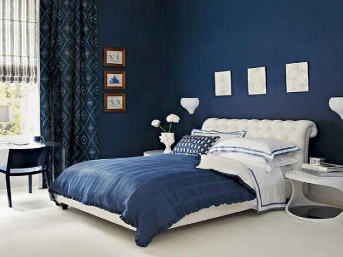 blue and white contemporary bedroom ideas photo - 1
