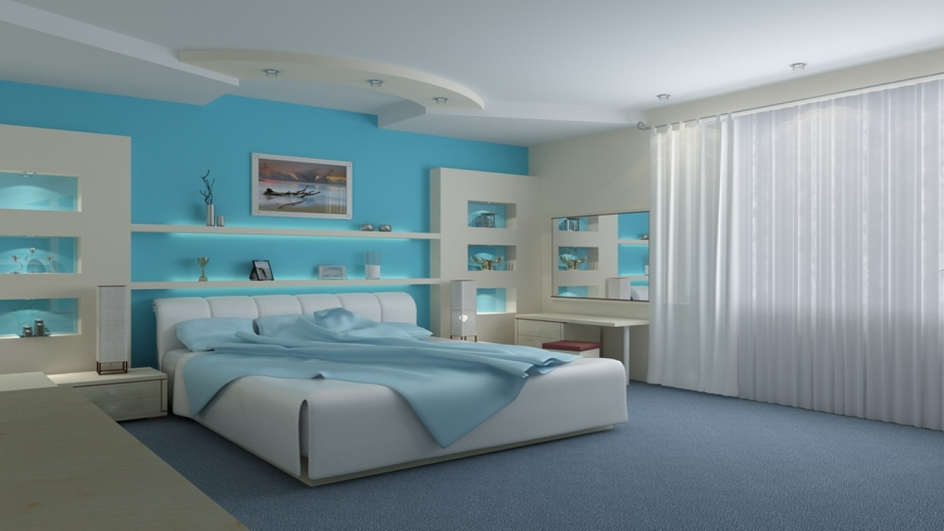 blue and white contemporary bedroom ideas photo - 5