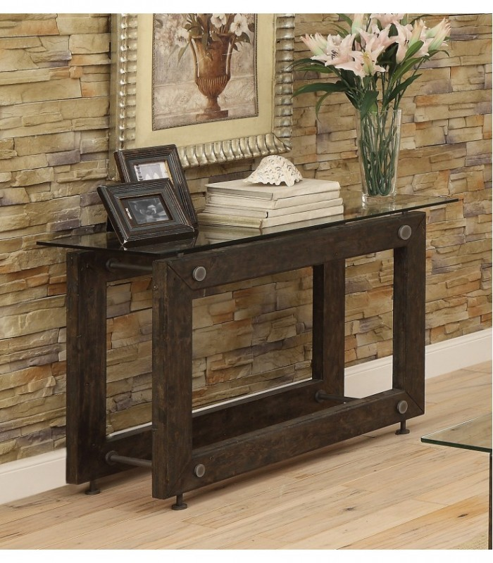 brown black sofa table photo - 2