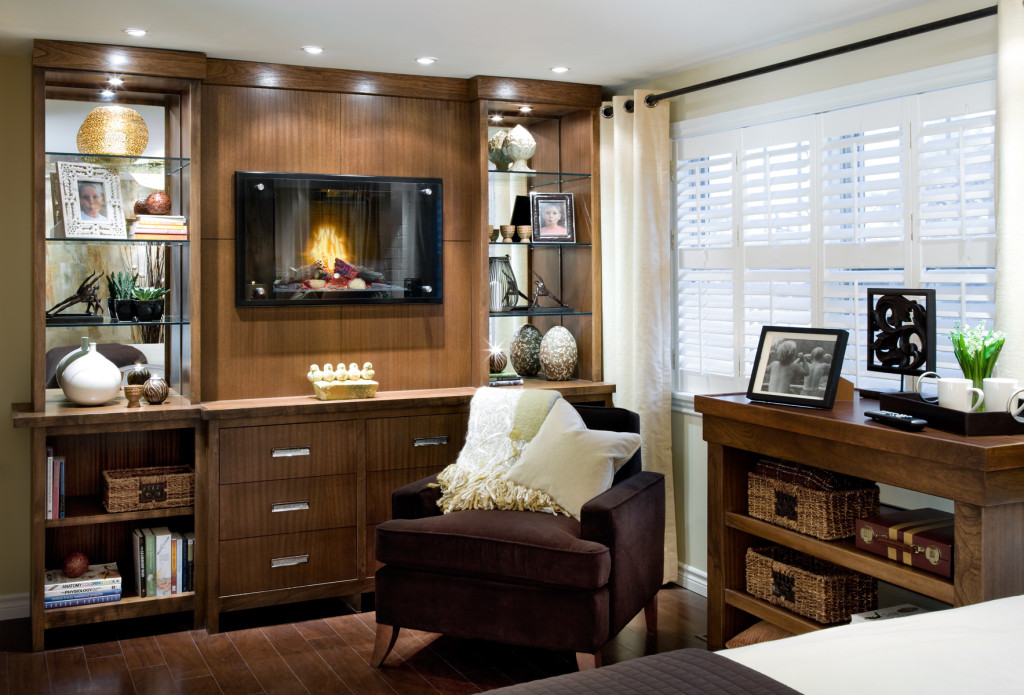 candice olson bedroom fireplace photo - 3