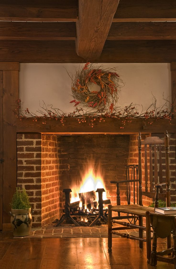country kitchen fireplaces pictures photo - 10