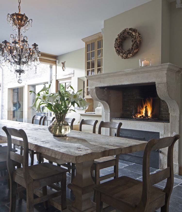 country kitchen fireplaces pictures photo - 9