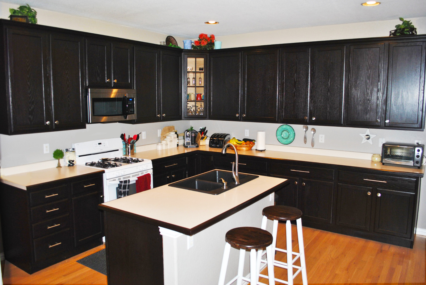 custom black kitchen cabinets photo - 1