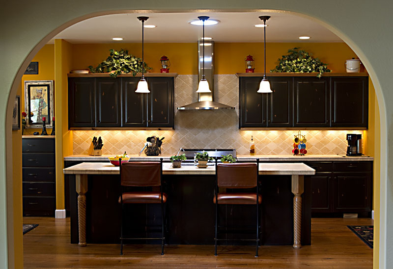 custom black kitchen cabinets photo - 2