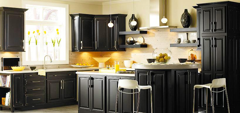custom black kitchen cabinets photo - 9