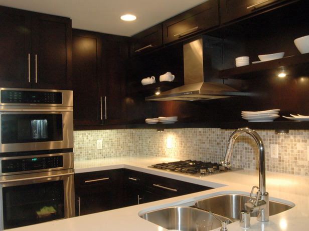 dark cabinets tile backsplash photo - 10