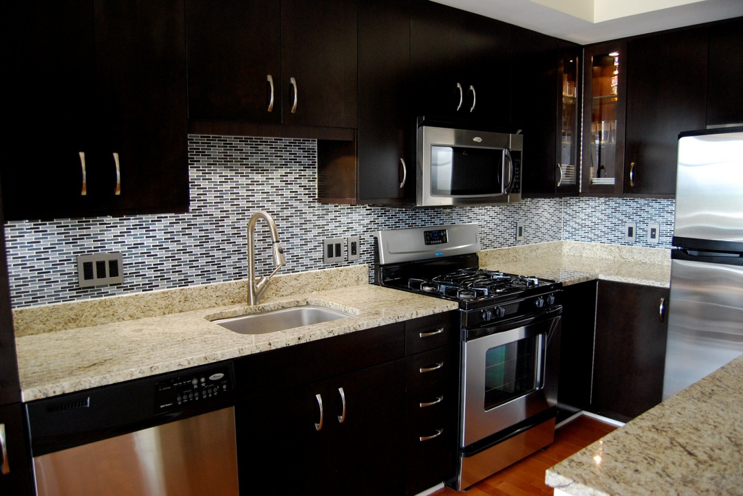 dark cabinets tile backsplash photo - 5