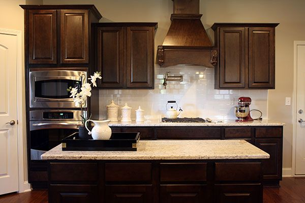dark cabinets tile backsplash photo - 6