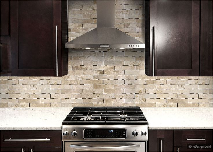dark cabinets tile backsplash photo - 7