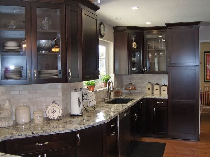 dark cabinets white backsplash photo - 10